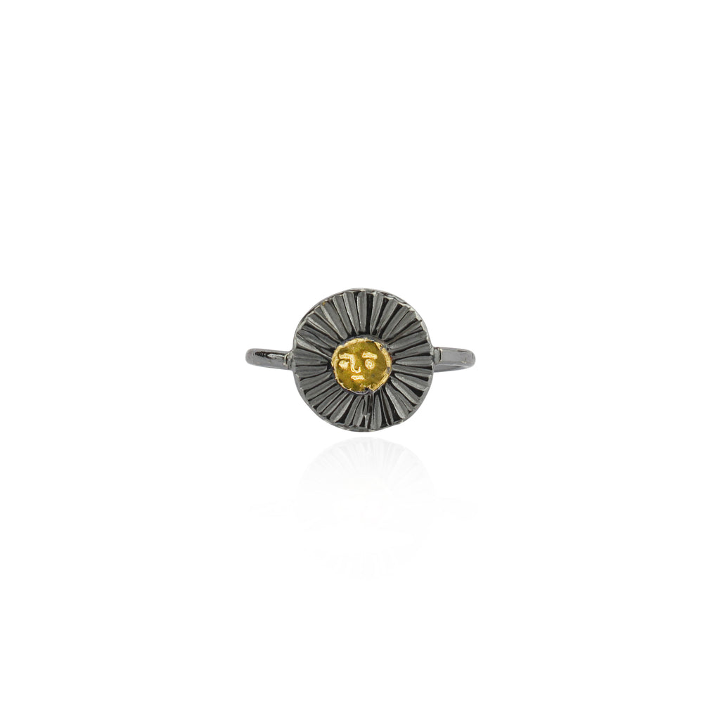 Sun disc ring 23.5ct gold x oxidised silver