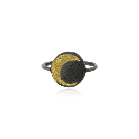 Moon disc ring 23.5ct gold x oxidised silver
