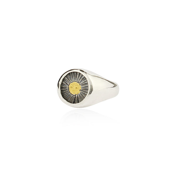 Sun signet ring 23.5ct gold x oxidised silver