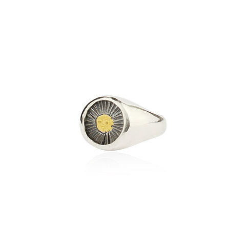 Sun signet ring gold x black