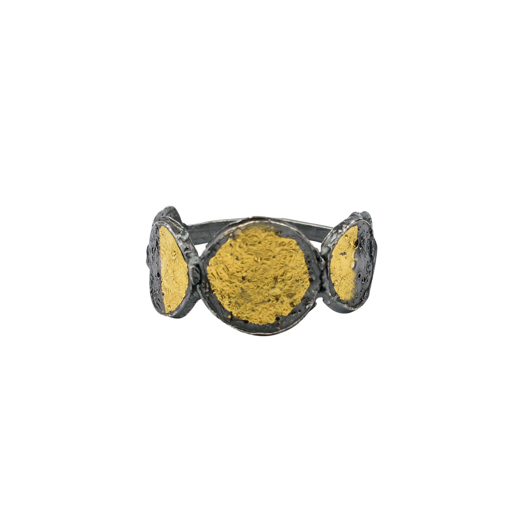 Moon phase ring 23.5ct gold x oxidised silver