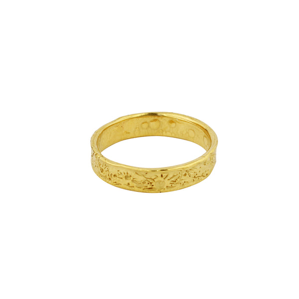Moon crater ring 4mm gold vermeil