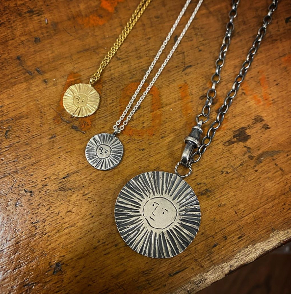 Sun disc necklace gold vermeil