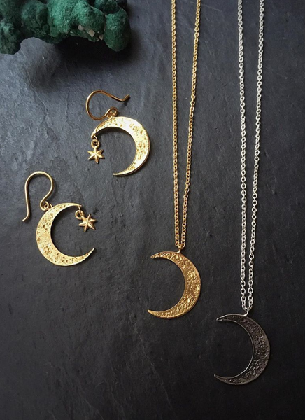 Crescent moon & star earrings gold