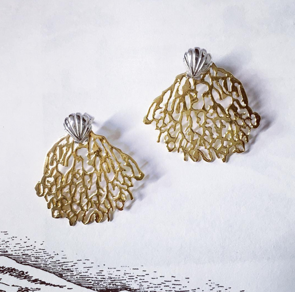 Gold Coral & Silver Shell Stud Earrings