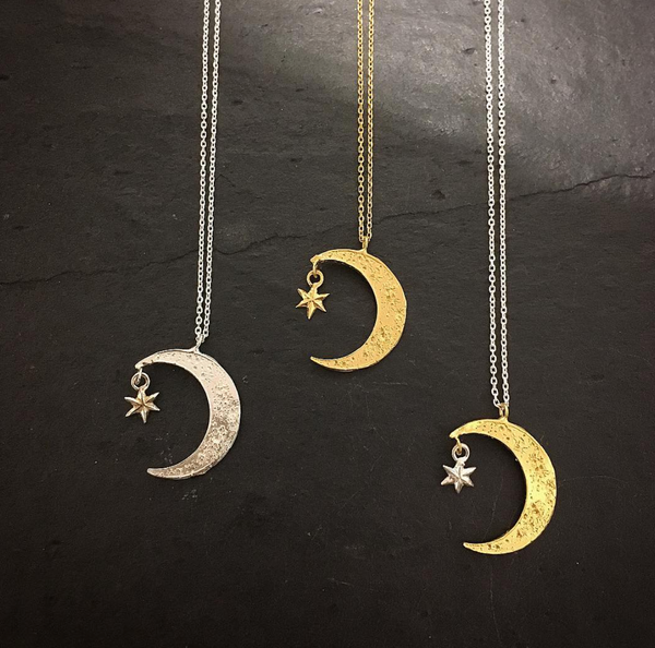 Crescent moon & star necklace silver x gold