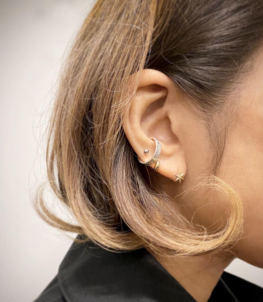 Moon crater ear cuff