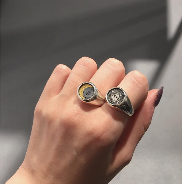 Sun signet ring oxidised silver