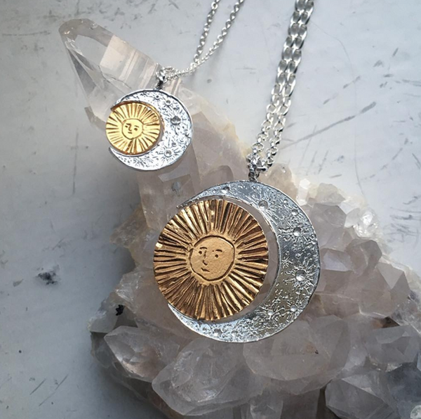 Silver crescent moon & gold sun/moon necklace