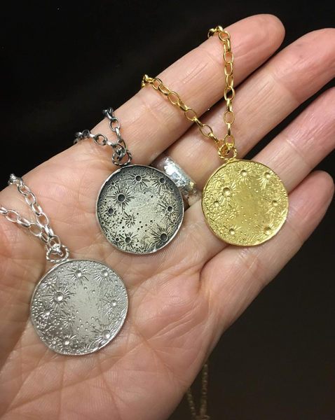 Large Sun & Moon Reversible Disc Necklace Gold