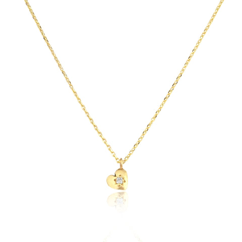 Tiny Heart Necklace Gold with Diamond