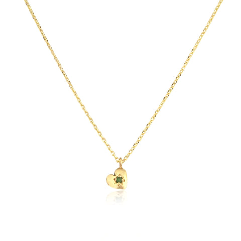 Tiny Heart Necklace Gold with Emerald