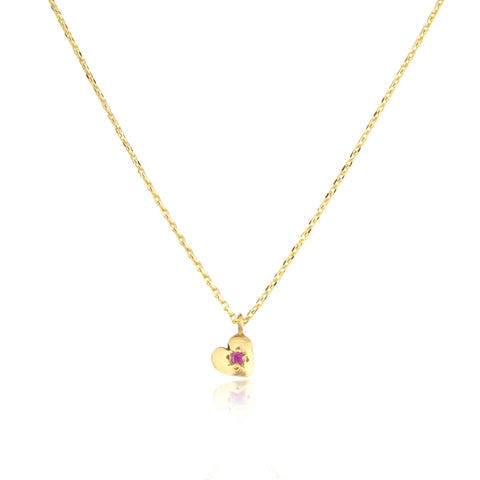 Tiny Heart Necklace Gold with Ruby
