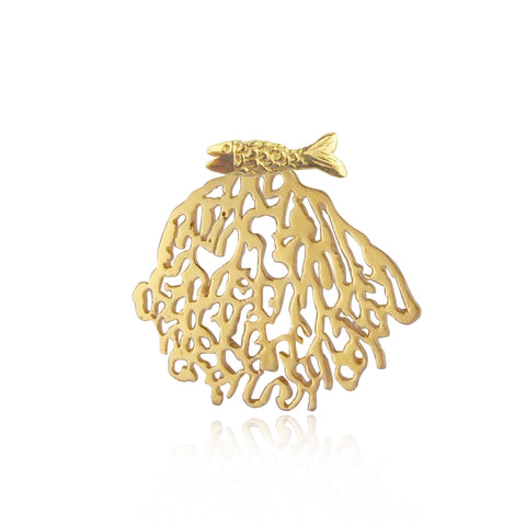 Gold Coral & Micro fish Single Stud Earring