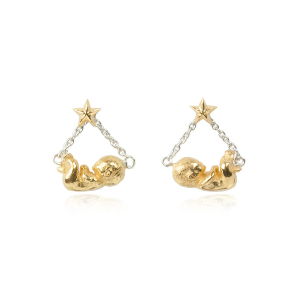 MOMOCREATURA Baby & Star Swinging Earrings Silver X Gold