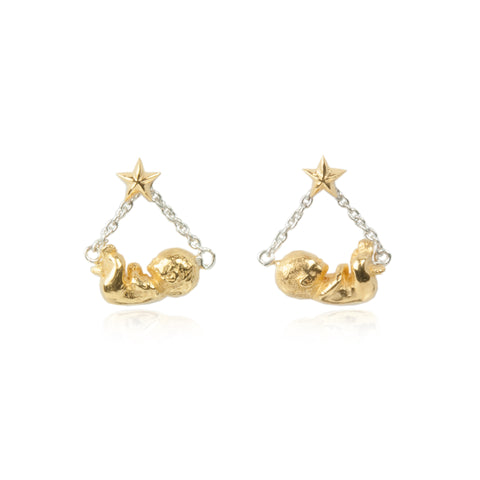 Baby Star Swinging Earrings Silver & Gold