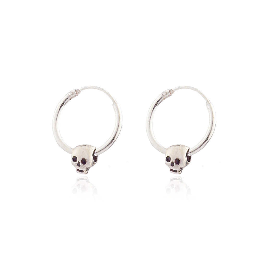 Baby Skull Hoop Earrings Silver