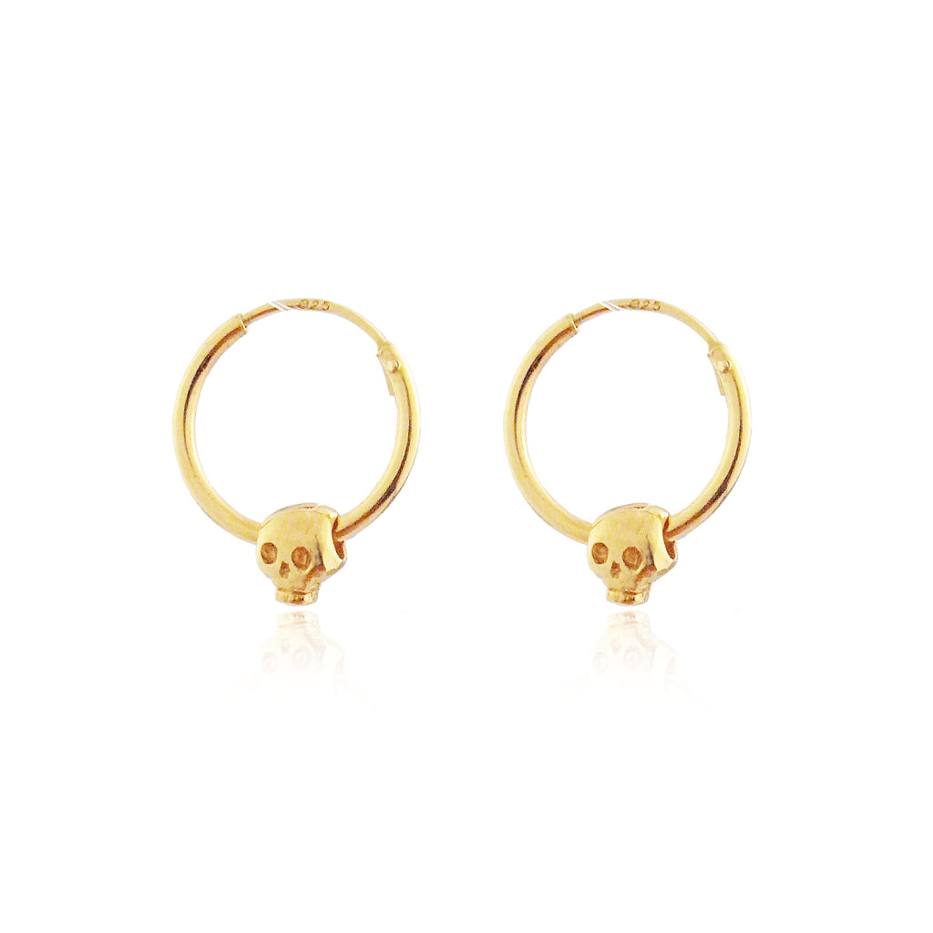 Baby Skull Hoop Earrings Gold