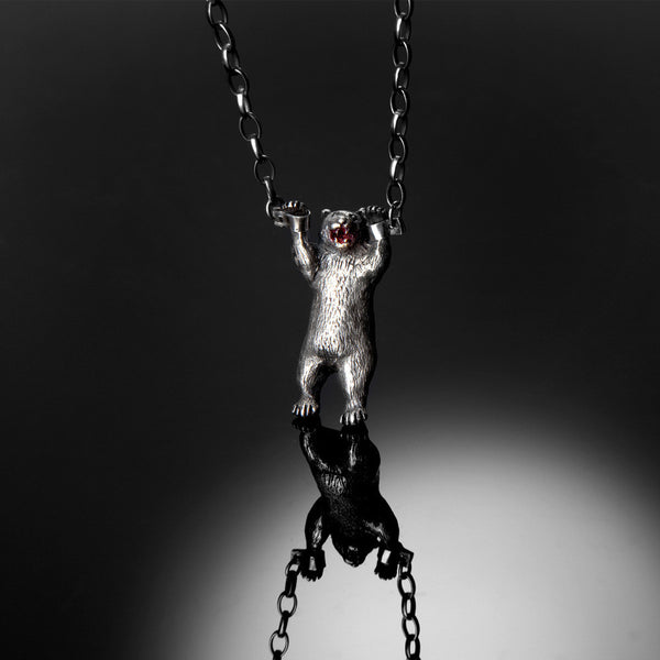 Handcuffed Bear Necklace Silver Product Shot Styled