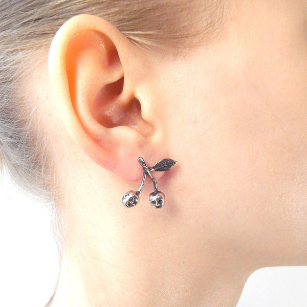 Cherry Brothers Earrings Silver on Model
