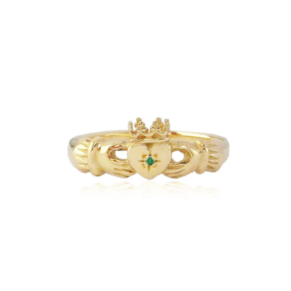 Claddagh Ring with Emerald x Gold