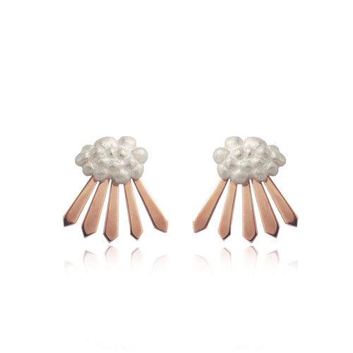 Cloud and Rays of Sunshine Earrings Rose Gold Matte Finish