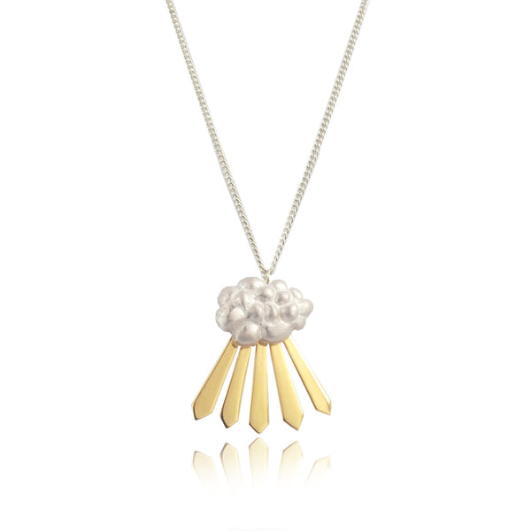 Cloud and Rays of Sunshine Necklace Yellow Gold Product Shot