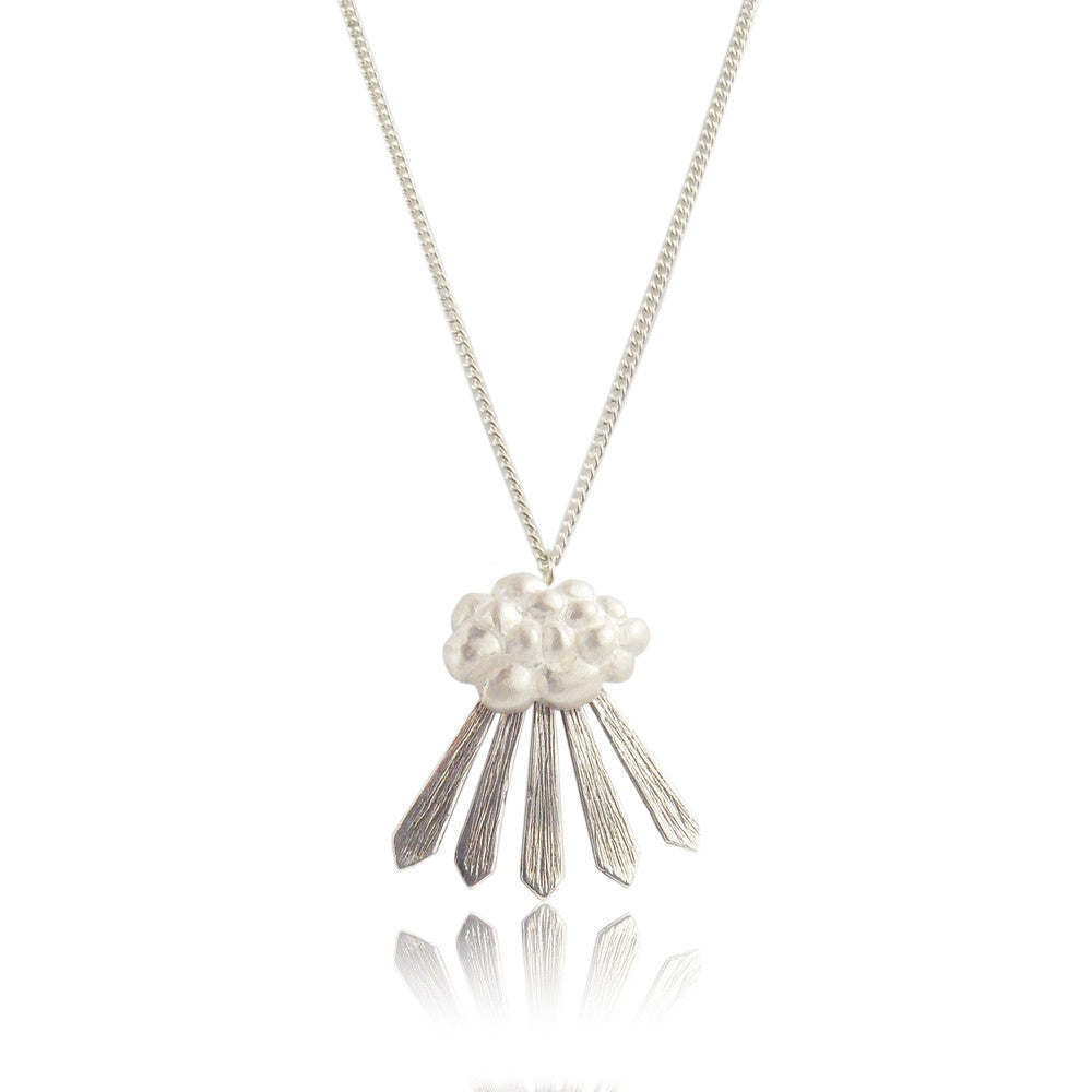 Cloud and Rays of Sunshine Necklace Silver Product Shot
