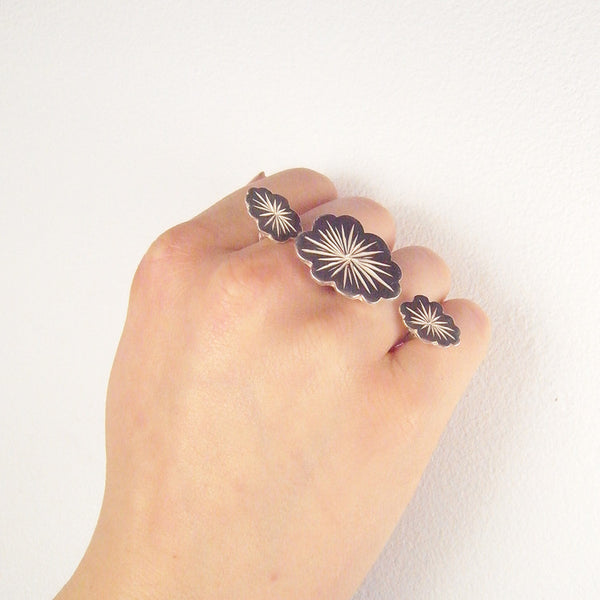 Triple Cloud Ring Silver on Model