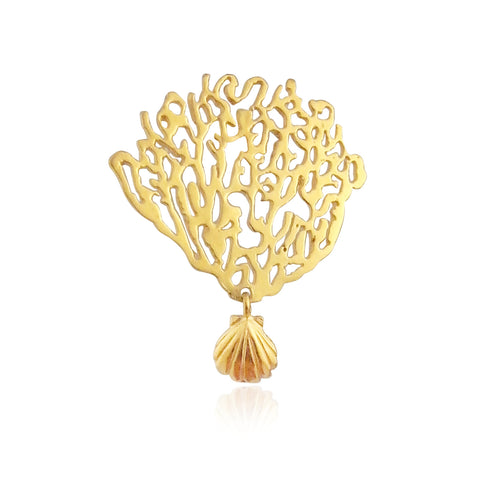 Gold coral and shell single earring