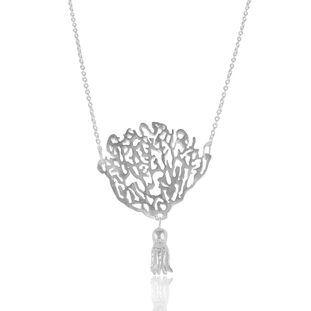 Coral & Octopus Necklace Silver