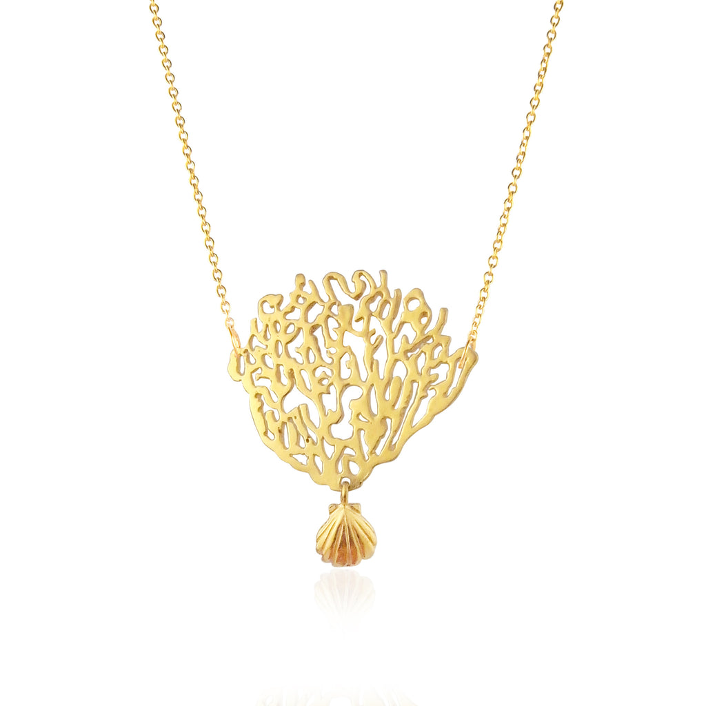 Coral & Shell Necklace Gold