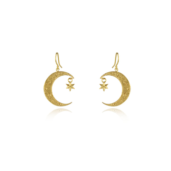 Crescent moon   star earrings gold – momocreatura 3a8126afd