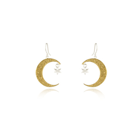 Crescent moon & star earrings gold x silver