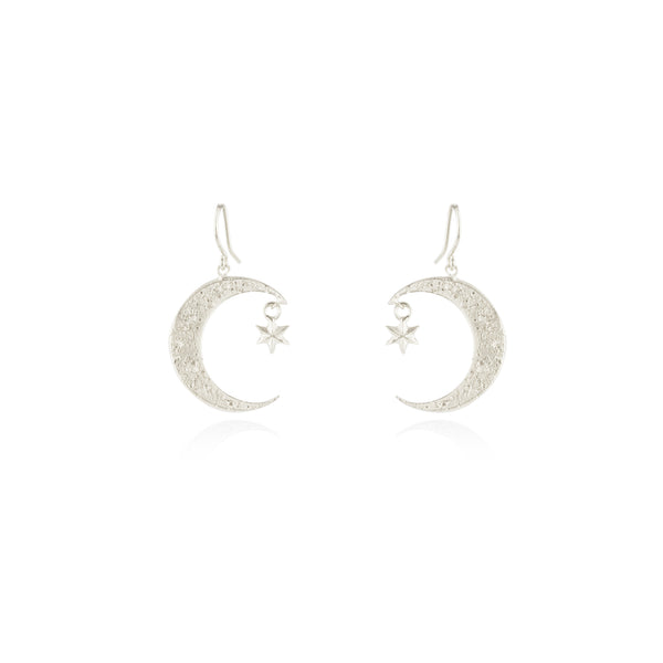 Crescent moon & star earrings silver