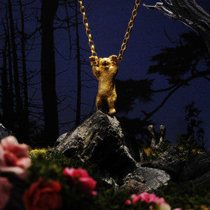 Handcuffed Bear Necklace Gold in Diorama