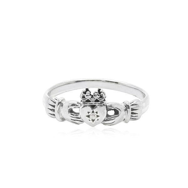 Claddagh Ring with Diamond x Silver