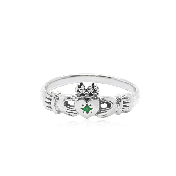 Claddagh Ring with Emerald x Silver