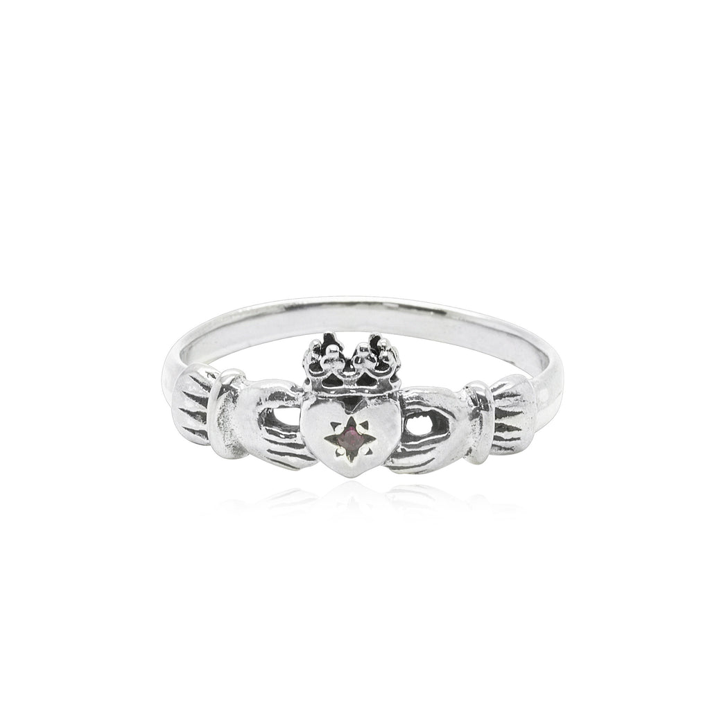 Claddagh Ring with Ruby x Silver