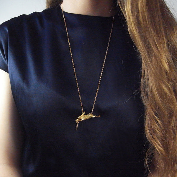 Rabbit and Carrot Necklace Gold on Model