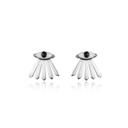 Enamel Eye and Ray Earrings Silver Product Shot Main