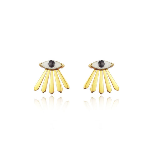 Enamel Eye and Ray Earrings Gold Product Shot Main