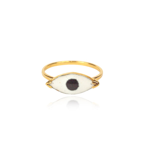 Enamel Eye Ring Gold