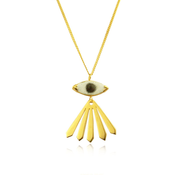 Enamel Eye and Ray Long Necklace Gold Product Shot Sub