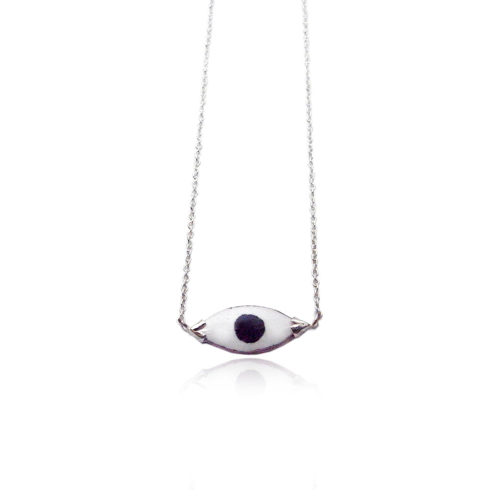 Enamel Eye Necklace Silver Product Shot Main