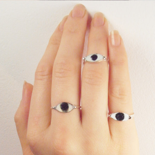 Enamel Eye Ring on Model