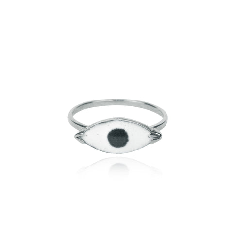Enamel Eye Ring Silver