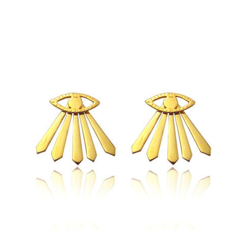 Eye and Ray Earrings Gold Product Shot Main