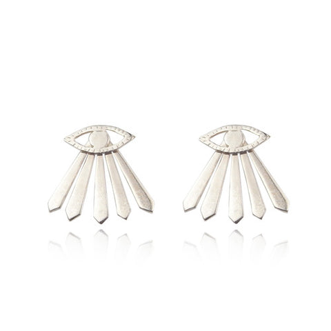 Eye and Ray Earrings Silver Product Shot Main
