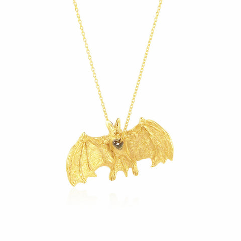 Stolen Heart Bat Necklace Gold x Black
